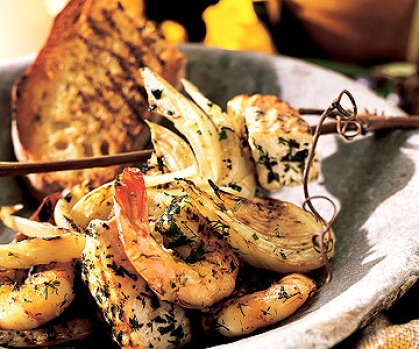 shrimp kabobs include wedges of fennel. The fish, shrimp, and fennel ...