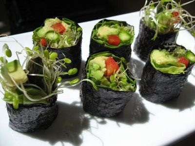 Veggie Sushi rolls with out rice, I prefer the rice, but they sure are ...