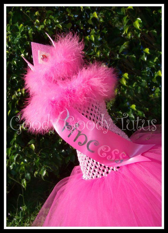 My little princess pink crocheted tutu dress with princess sash and m