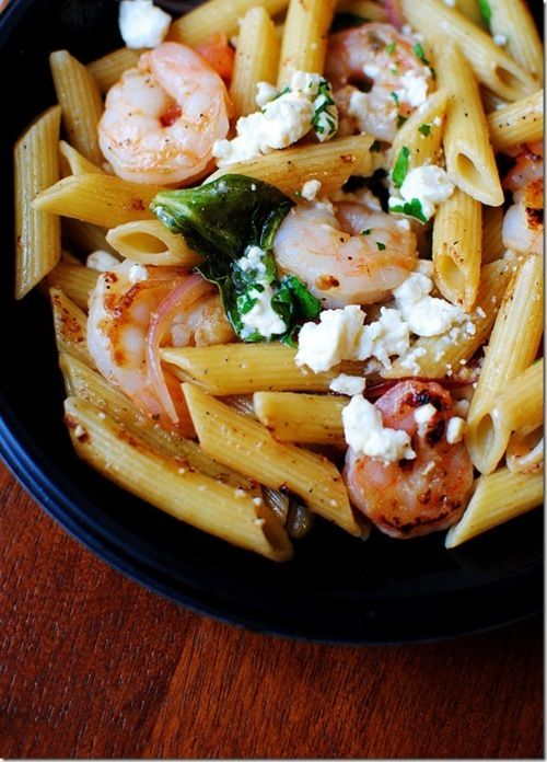 Shrimp, goat cheese and spinach penne... delicious