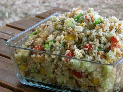 Quinoa Garden Salad cucumbers, bell peppers, tomatoes, carrots, onion ...