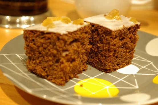 Iced ginger and treacle cake