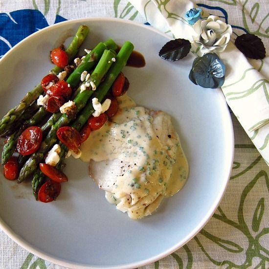 Broiled Tilapia with Mustard-Chive Sauce & Asparagus with Balsamic ...