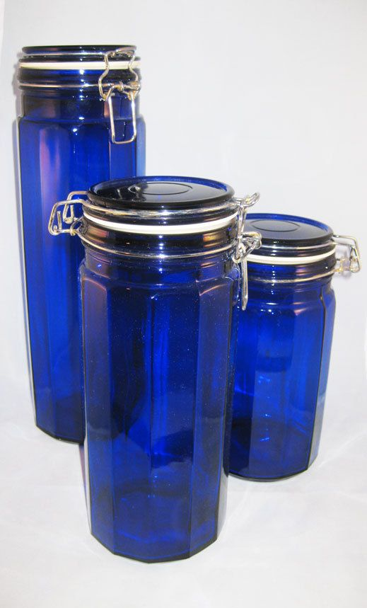 Cobalt Blue Canisters Vacuum Sealed Jars 8 10 13 Tall