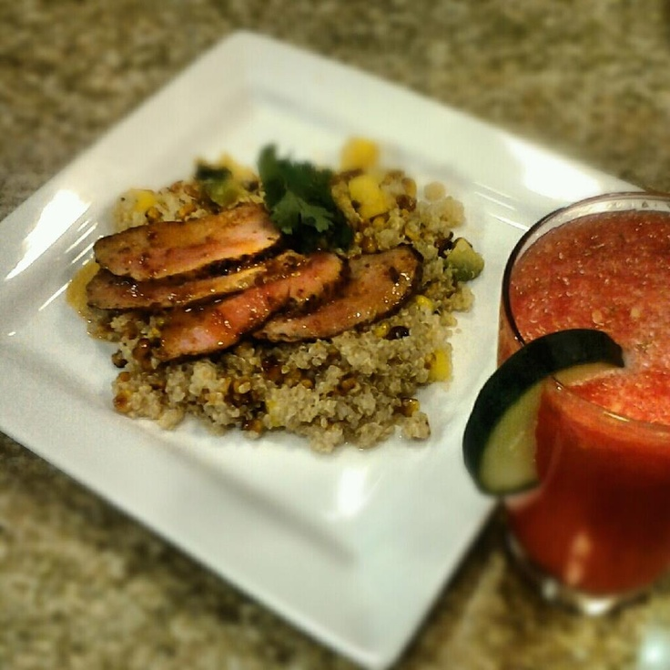 Chipotle-Citrus Marinated Pork Tenderloin over Quinoa Salad with ...
