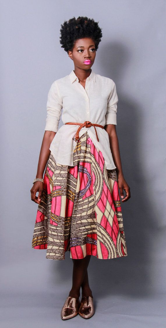 NEW The Shavon -African Print 100% Holland Wax Cotton Midi Skirt ONE AVAILABLE