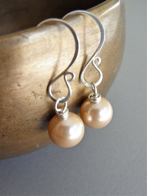 The Creme Anglaise earrings - petite lustrous champagne hued south sea shell pearls, finished with my signature sterling ear wires.  Classic and easy care!