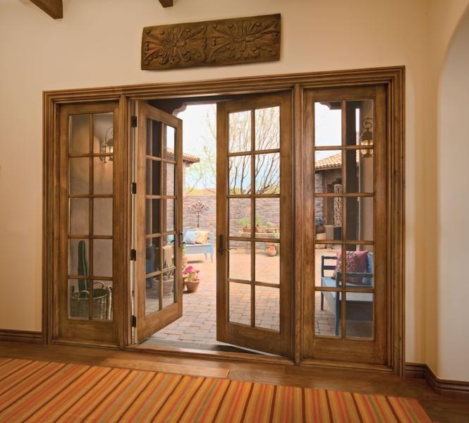 Wood swinging patio door house ideas pinterest for Hardwood patio doors