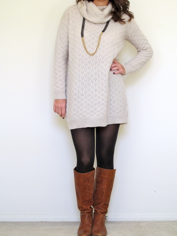 Sweater dress  tights  boots   Styled   Pinterest