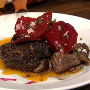 Michael Symon's Braised Short Ribs from The Chew- can be made in the crock pot- can use brisket or top Round.  Good base for slow cooked meat.
