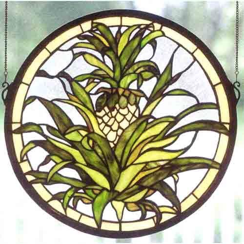 Welcome Pineapple Window Meyda Tiffany Screens & Panels Art Glass Panels Home Decor