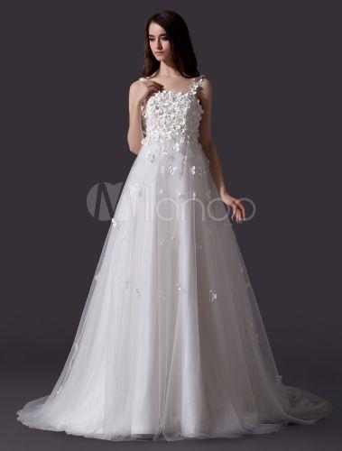Robe de mariée gracieuse A-ligne en tulle avec fleur à fines ...