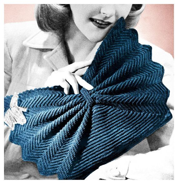 Vintage Crochet Clutch Pattern : 1940s Crochet Pattern Fan Shape Purse Crocheted Clutch Handbag Vintage ...