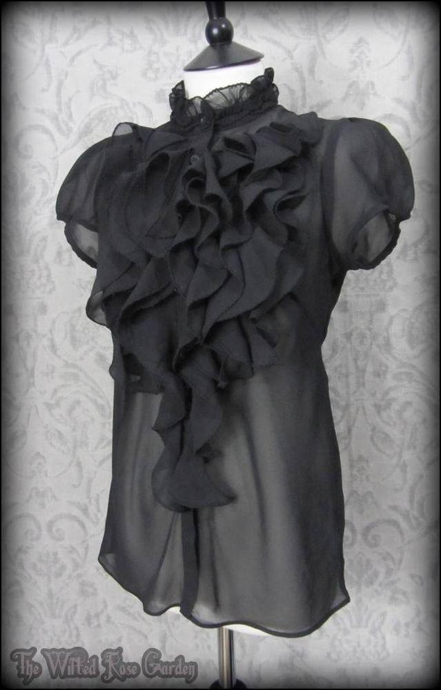 Black Sheer Ruffle Blouse 26