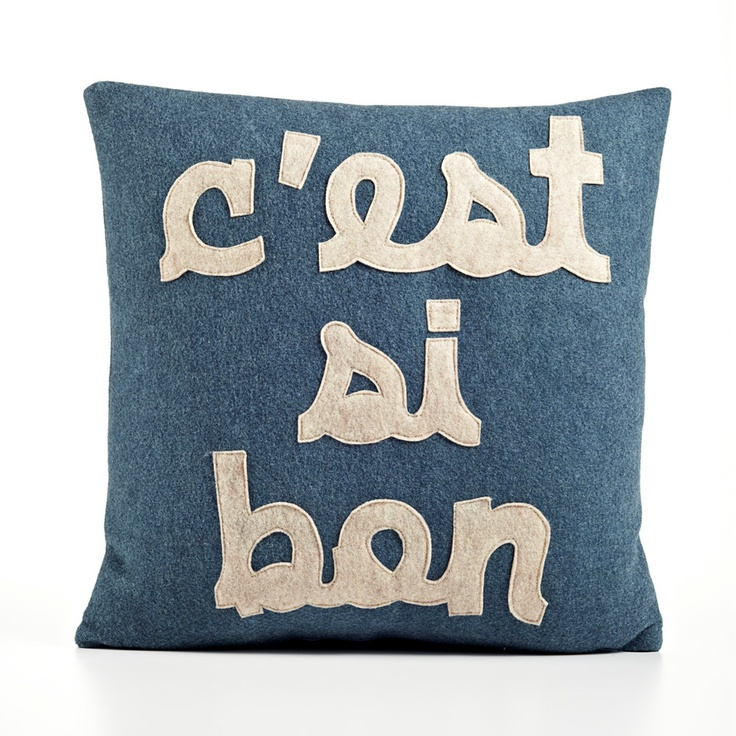 c'est si bon 16x16inch recycled felt applique pillow - denim and oatmeal. $109.00, via Etsy.