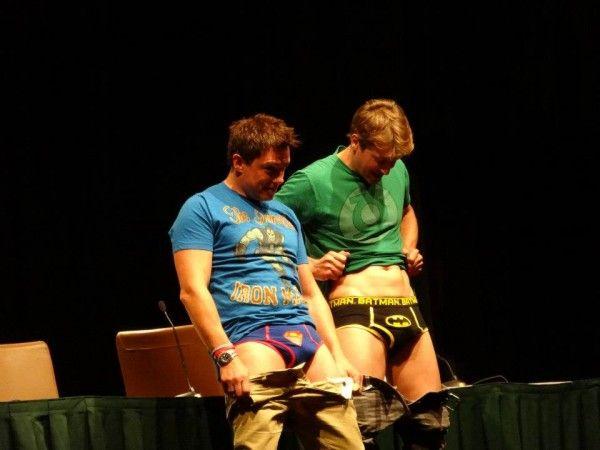 ...stays at DragonCon. =) John Barrowman & Scott Gill In Superhero Underwear!