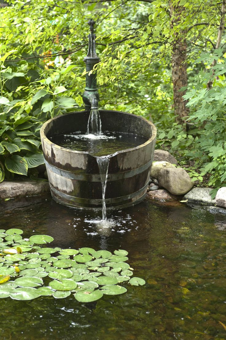 Hand Pump Whiskey Barrel Water Gardens Ponds And