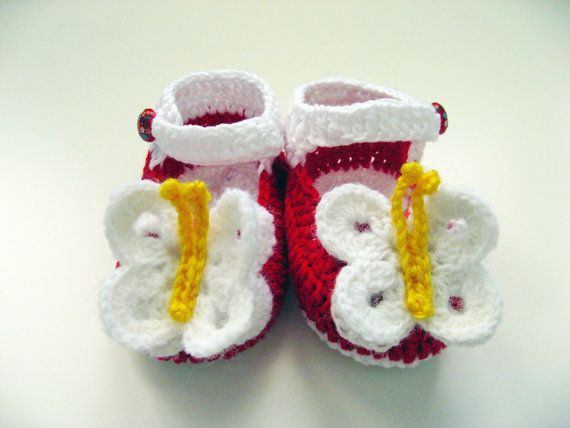 Red Baby Shoes Crochet Baby Shoes Crochet Baby Mary Janes with a