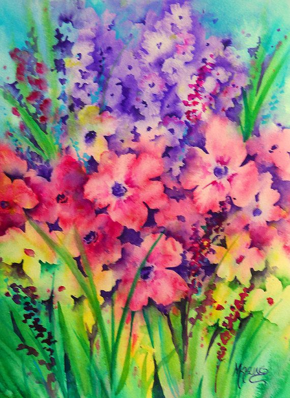 Vibrant watercolor of spring garden flowers by colorado for Spring flowers watercolor