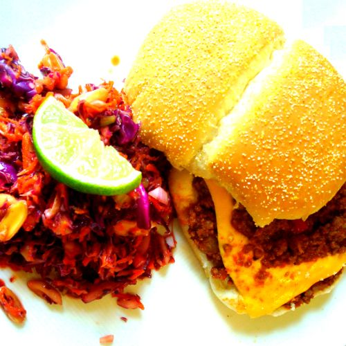 ... into Messy Moes with Red Cabbage, Peanut and Carrot Molasses Coleslaw