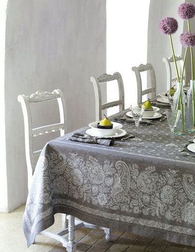 Provence tablecloth, soft gray