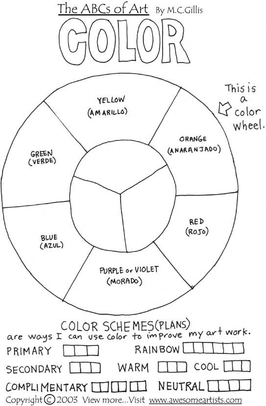 Simple Color Wheel Worksheet Art materials of a simple color wheel ...