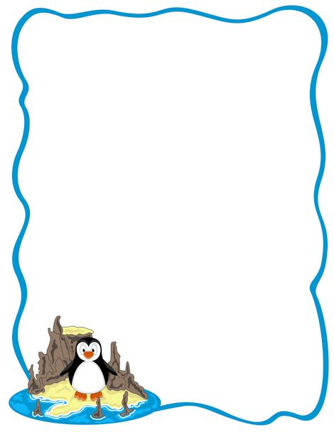 Printable penguin border downloads in PDF and various image formats at ...