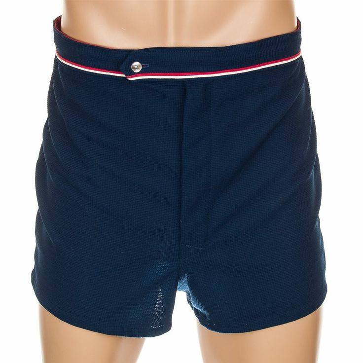 Vintage 1970s mens swim trunks blue textured lined bathing suit shorts