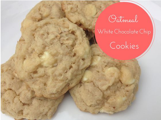 Oatmeal White Chocolate Chip Cookies .. I think adding in some broken ...