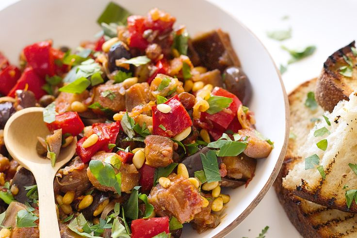 Caponata is a Sicilian eggplant stew that can be eaten hot or cold on ...