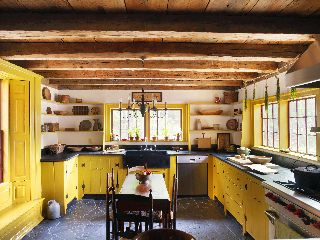 Rustic yellow kitchen house color pinterest for Rustic yellow kitchen