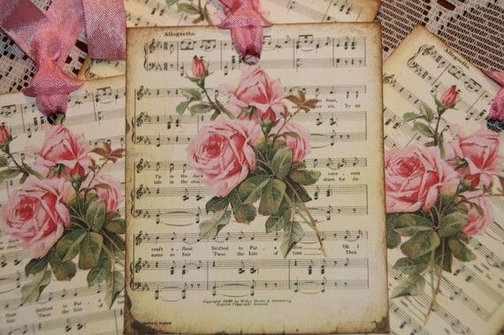 Romantic Music Sheet Pink Roses Gift Tags