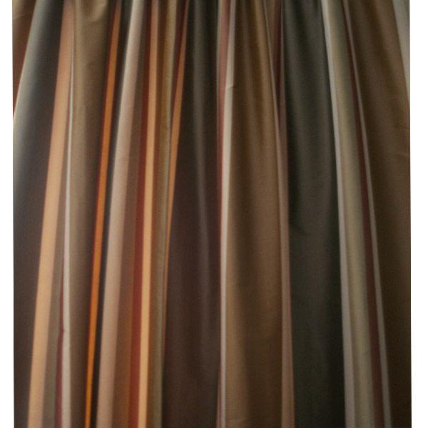 84 Long Danielle Green And Copper Striped Dupioni Silk Curtain Panel