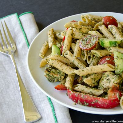 chicken tikka pasta salad , replace chicken with tempeh