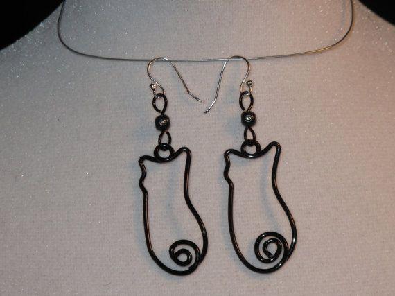 Wire Wrapped Kitten Earrings | Handmade Wire Jewelry Ideas | Pinterest