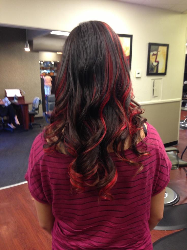 Red Peekaboo Highlights On Light Brown Hair Red peekaboo highlights