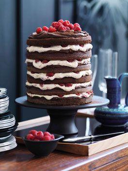 Chocolate raspberry layer cake.