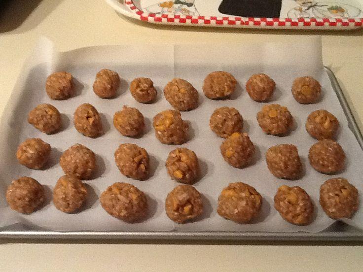 Peanut Butter, Oatmeal, butterscotch chips balls