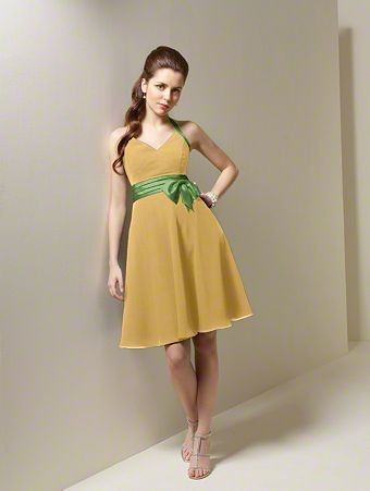 Yellow Cocktail Dress on Chiffon  Satin  Cocktail Length  Dress         Gold   Yellow Dresses