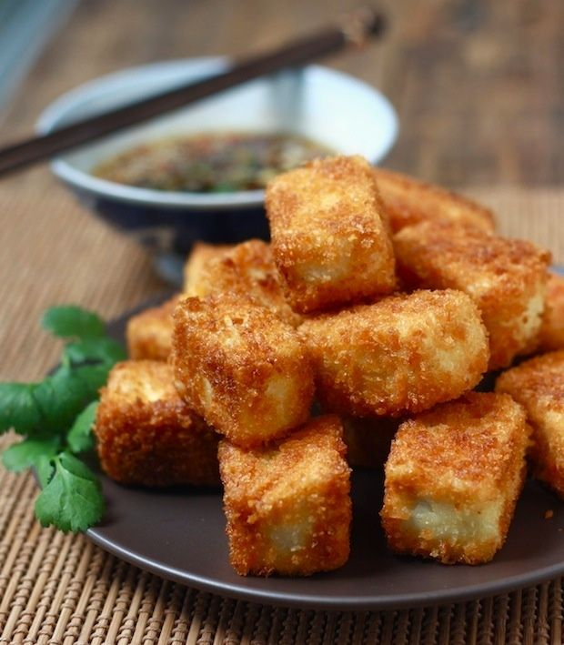 Fried Tofu with Sesame-Soy Dipping Sauce | food | Pinterest