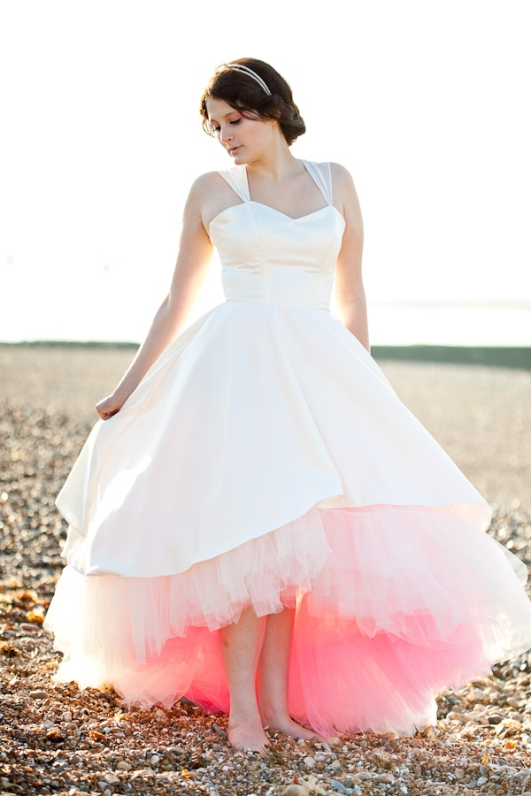 Oh My Honey dress with custom dyed ombre petticoat at The Handmade Bride.
