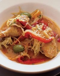 Braised Chicken with Olives and Sweet Peppers. This homey chicken dish ...