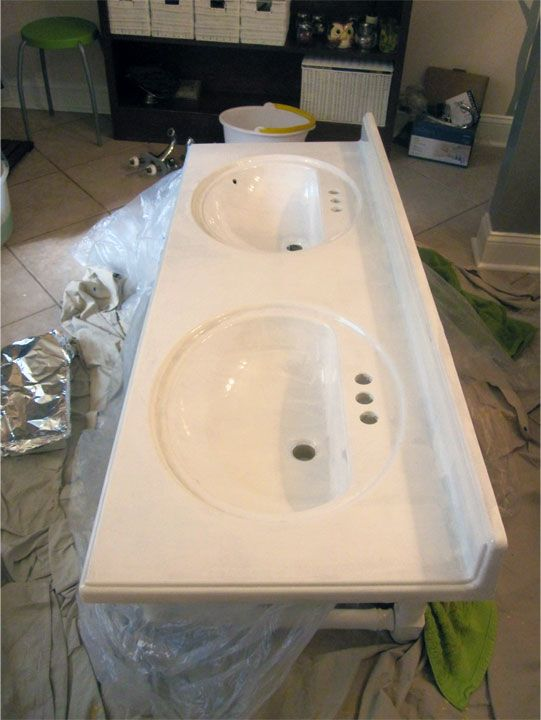 Refinish Countertop Paint Lowes : Refinishing the Bathroom Vanity Top: Part 1 JulepStyle