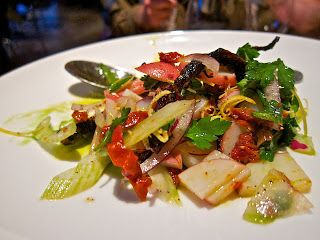 Charred Octopus Salad--the bits and pieces of pepper crusted octopus ...