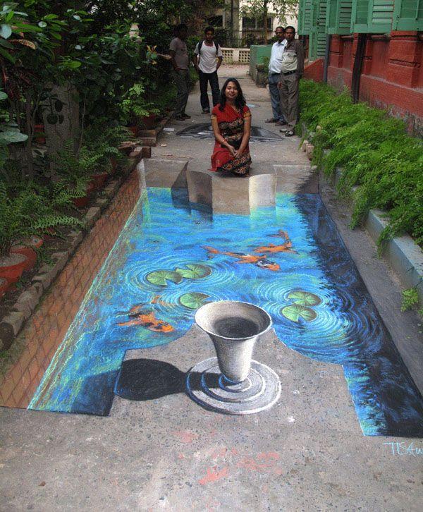 Koi fish pond 3d street art 3 d street floor art for Koi pond art