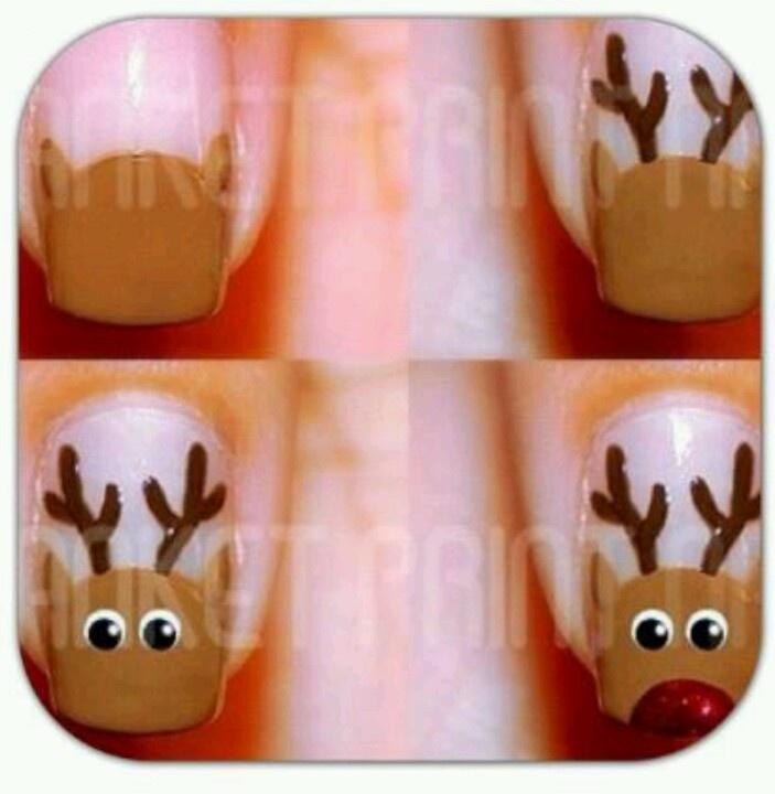 Reindeer Nail Art: Reindeer Nails