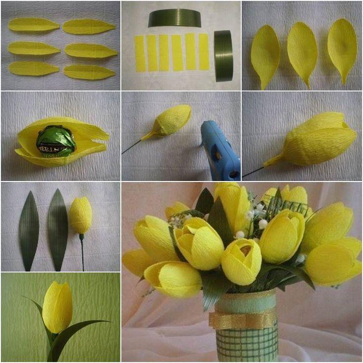 Сделать тюльпаны из гофрированной бумаги с конфетами 100