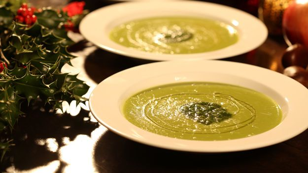 parsnip and pea soup with walnut pesto | Peanut Butter | Pinterest