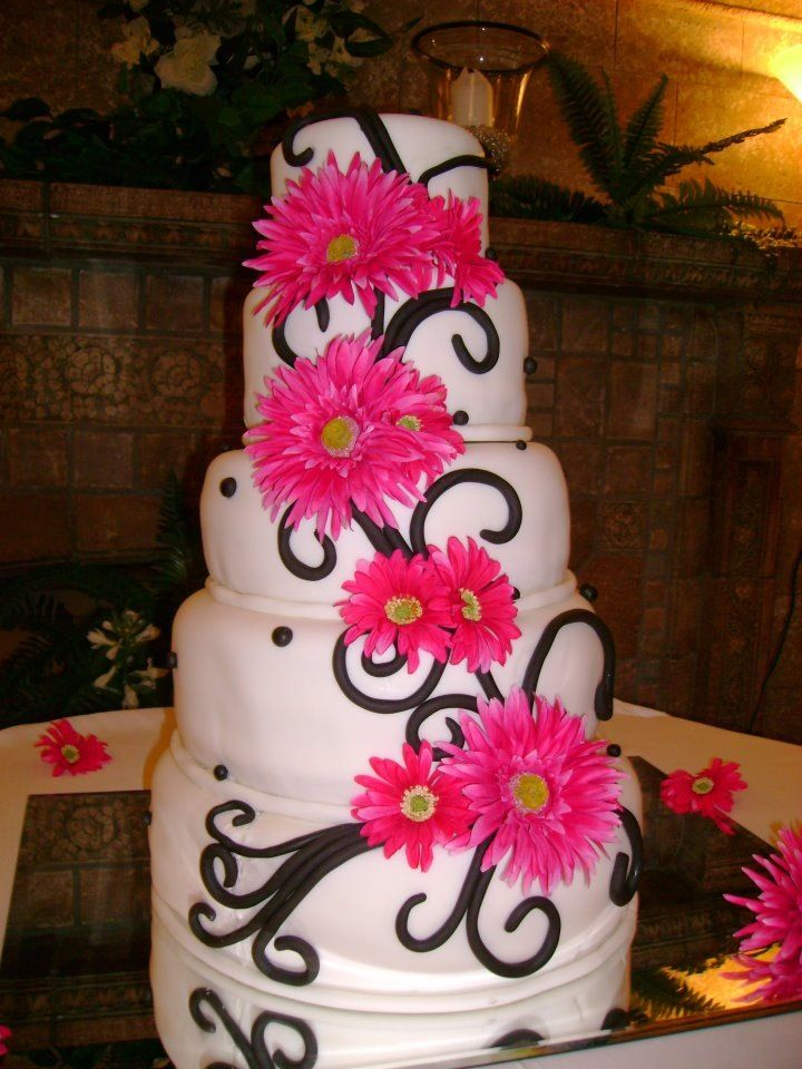 Black white and pink wedding cake