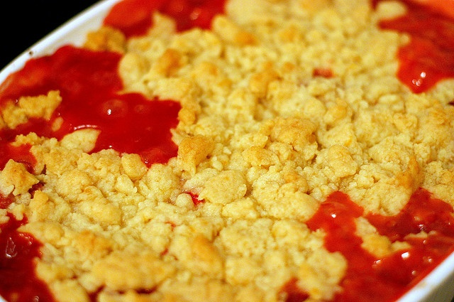 strawberry -rhubarb crumble for 4th of july. not a great pic, but love ...